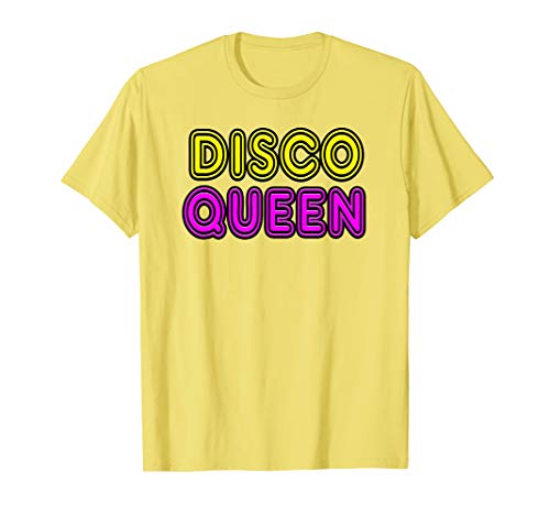 Mens DISCO QUEEN Retro Vintage 70's & 80's Neon Sign Gift T-Shirt Large Lemon (80's Clothing Disco)