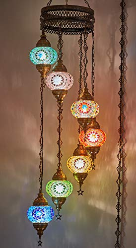 DEMMEX Turkish Moroccan Mosaic Hardwired OR Swag Wall Plug in Chandelier Light Ceiling Hanging Lamp Pendant Fixture 7 x 4.5 Globes – Swag