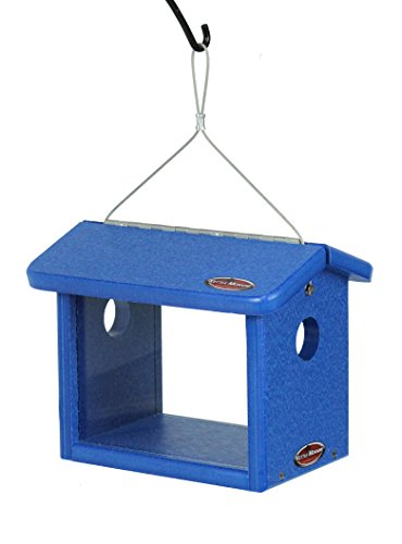 Kettle Moraine Recycled Bluebird Mealworm Feeder Hang or Mount (Blue, Blue)