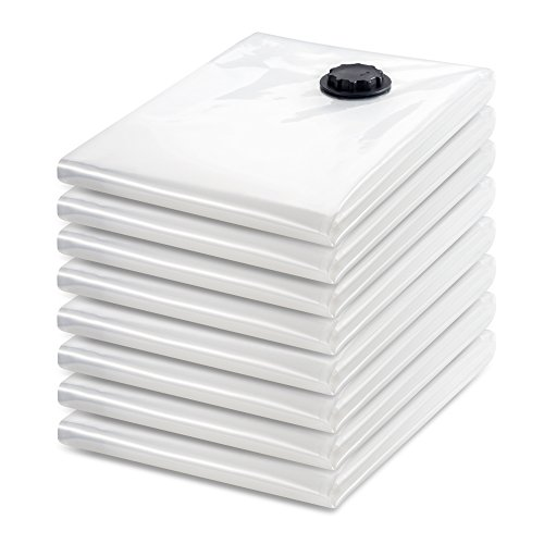 Tiergrade Vacuum Storage Bags, 8 Pack Premium JUMBO Triple Seal Turbo Valve Clothes Bedding Storage Vacuum Sealer Bags with Hand Pump