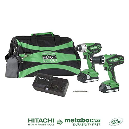 Hitachi KC18DGLS 18V Lithium Ion Cordless Combo Kit DV18DGL Hammer Drill & WH18DGL Impact Driver with 2-1.5Ah Batteries (Renewed)