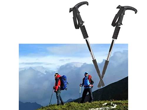 CMLLING Wandelstokken, telescoop, ultralicht voor wandelen, kamperen, bergbeklimmen, rugzakwandelen, trekking, 2 stuks