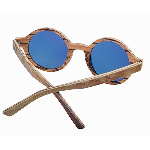madera mano gafas de Pequeño piedra UV protección de a hecho polarizadas calidad estilo redonda los y hombres de TAC lente retro alta forma conducción de sol Retro la Marrón de de gafas de sol de pesca playa qadf6Tztwz