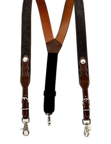 Nocona Men s Black Leather Suspenders with Brown H…