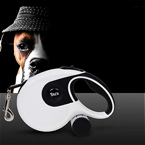 (JR.WHITE Retractable Dog Leash Large Breed-16ft Walking Leash, Durable Retractable Dog Leash for Medium Large Dogs up to 88lbs, Upgraded Lock System, Non Slip Rubbery Grip, Tangle Free Pet Leash)