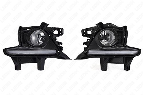 (LEDIN 2014-2016 Toyota Highlander Clear Front Bumper Driving Fog Lights w/ LED Daytime Running Light DRL w/Switch w/Bulbs w/Bezel)