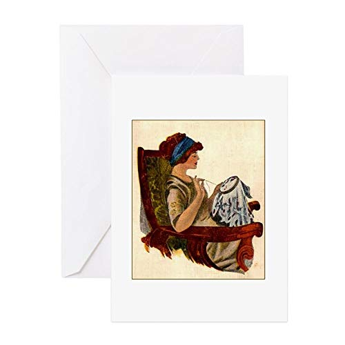 CafePress Flapper With Embroidery Hoop Greeting Card, Note Card, Birthday Card, Blank Inside - Cross Cards Stitch Birthday