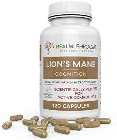 Organic Lions Mane Mushroom Capsules by Real Mushrooms - 120 Capsules of Extract Powder, White