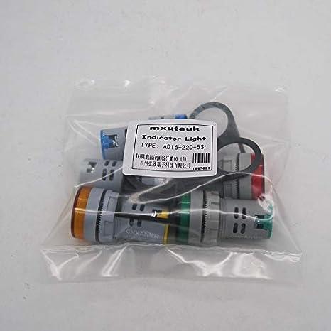 5pcs Indicator Light Notice Board,1 Year Warranty mxuteuk 5Pcs AD16-22D-5S-24V 22mm AC//DC24V 20mA Energy Saving LED Indicator Light Green Yellow Red Blue White