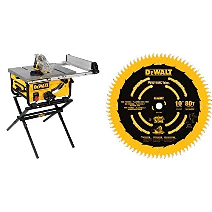 Pleasant Dewalt Dwe7480Xa 10 In Portable Table Saw With Table Saw Stand With Dewalt Dw3219Pt 10 Inch 80T Fine Crosscutting Saw Blade Download Free Architecture Designs Scobabritishbridgeorg
