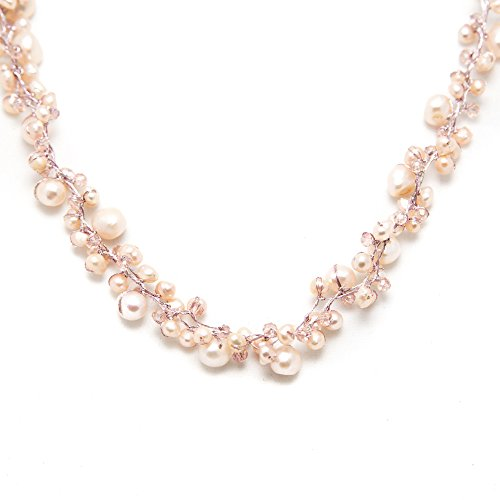 Peach Genuine Cultured Freshwater Pearl Three (3) Strand Silk Thread Princess Length Necklace 17-19