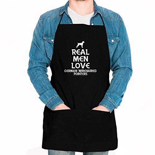 Idakoos Real men love German Wirehaired Pointers Silhouette Apron 24