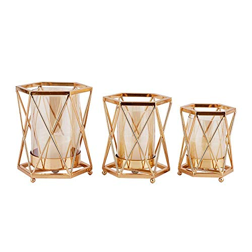 (Classical household candlestick decoration European style retro candle table metal hollowed decoration set of 3 pieces)