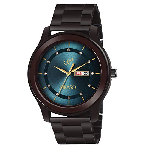 PIRASO Analogue Classy Look Blue Dial and Brown Chain Watch for Men Boys