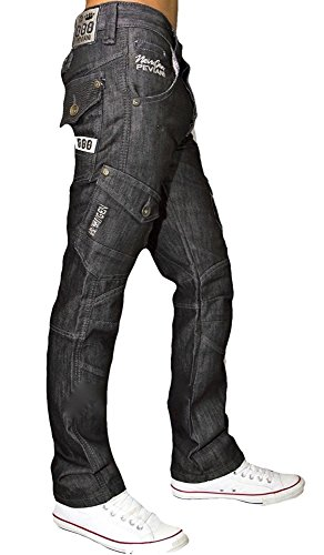 cómodo Hop Peviani Star Recto Hombre Cargo Corte Combat Wash Pantalones Hip Negro Urban Jeans de Diseño G Ajuste R6qvRUx
