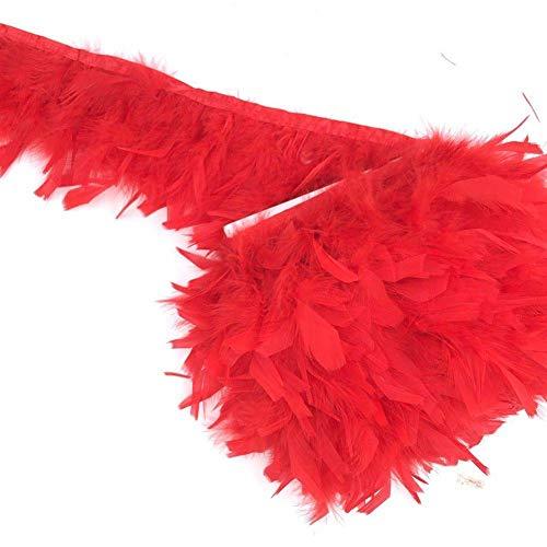 MELADY 2yards Turkey Feathers Fringe Trim Fashion Dress Sewing Crafts Costumes Decoration (Red)]()