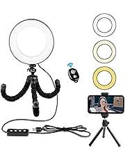 "Rhodesy Kit de Luz Anillo Selfie de 6"" con Soporte de Trípode para Transmisión en Vivo/Maquillaje/Video en YouTube Luz de Anillo de Belleza Regulable+Control Remoto Bluetooth USB, Cualquier Smartphone"