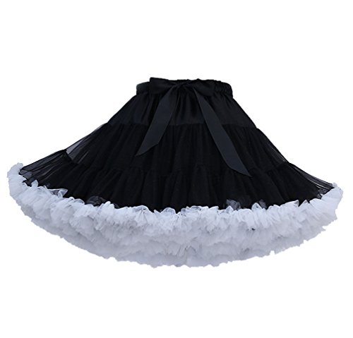 ISSHE Womens Ruffled Tulle Skirt Tutu Skirts Adult Ruffle Tiered Tutu Skirt Petticoat Fluffy Layered Frilly Tulle Skirts…