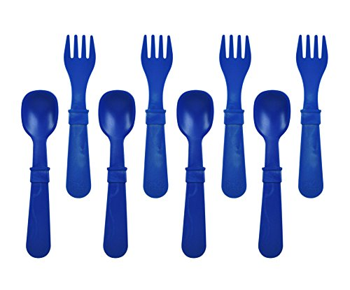 Re-Play Made in The USA 8 Count Spoon and Fork Utensil Set for Baby and Toddler - Navy Blue ()
