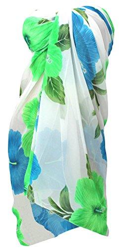 o519 Da Leggero Sarong Leela La Puro Fresco Chiffon Bianco Bagno Coprire Donne Floreale Costumi Delle 6qzxwXxd