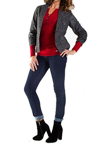 Manche L12 Pour 451 Noir Normale Femme Carrera Taille Veste Chevrons Motif Longue gris Jeans nwzx0q6Rg