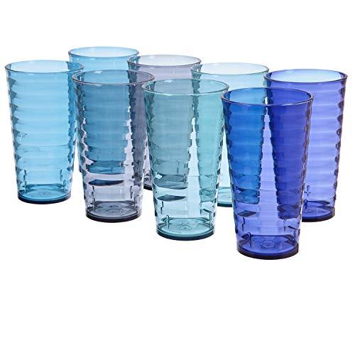 Splash 18-ounce Plastic Tumblers | set of 8 in 4 Coastal Colors (Seashell Glasses Drinking)