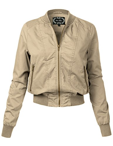 Warm Relaxed Fit Military Style Zipper Bomber Jackets, 110 - Khaki, Large by Luna Flower