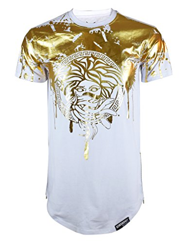 Screenshotbrand Mens Hipster Hip-Hop Premiun Tees - Stylish Longline Latest Fashion Print T-Shirts Gold Foil MD - White - XLarge