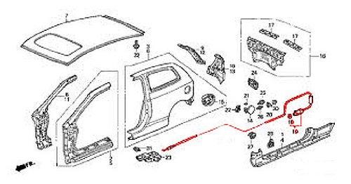Honda Civic Gas Door (Genuine Honda 74411-S5S-G00 Fuel Lid Opener Cable)