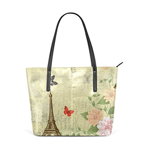 Totes Shoulder Fashion Flowers Paris TIZORAX Bags Purses On Handbag PU Grunge Butterfly Tower Leather Handle Top Eiffel Women's q6FvnFa