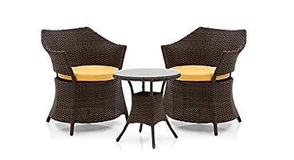 Urban Ladder Calabah Patio Outdoor  Balcony Furniture Table Set (Brown)