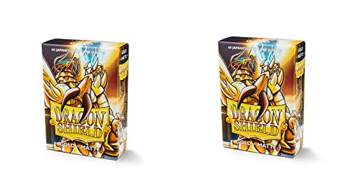 (2 Packs Dragon Shield Matte Mini Japanese Gold 60 ct Card Sleeves Value Bundle!)