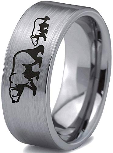 - Zealot Jewelry Tungsten Adult Bear Cub Following Walking Band Ring 8mm Men Women Comfort Fit Gray Flat Cut Brushed Polished Size 8