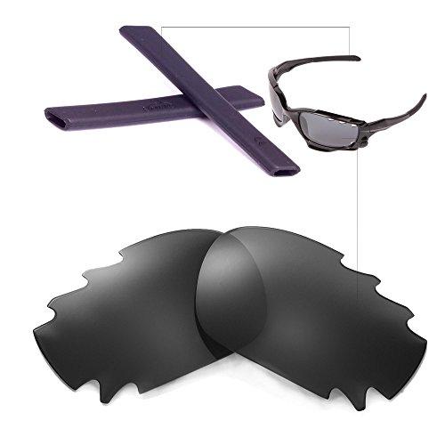 Walleva Polarized Vented Lenses And Rubber Kit(Earsocks) For Oakley Jawbone (Black Polarized Lenses + Black - Oakley Jawbone