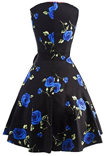 U-Shot Mujer Floral Lazo sin mangas Vintage 50s 60s Swing de fiesta vestido azul real