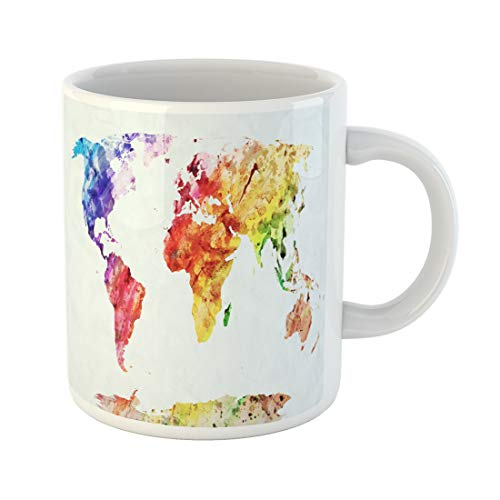 Semtomn Funny Coffee Mug Brown Watercolor World Map Colorful Paint on White Hd 11 Oz Ceramic Coffee Mugs Tea Cup Best Gift Or Souvenir