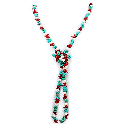 009 Blue Turquoise, Red Coral, White Cultured Freshwater Pearl long necklace (White Pearl Red Coral Necklace)
