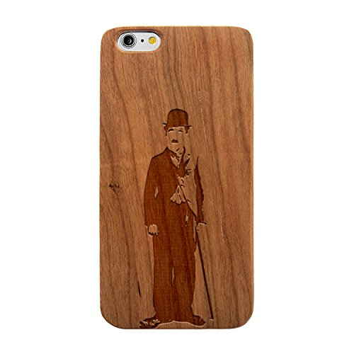 Laser Engraved Wood Case for Apple iPhone Samsung Galaxy Charlie Chaplin Sketch for iPhone 7 Plus Cherry Case