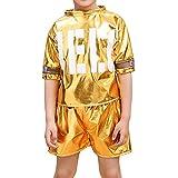 La moriposa Unisex Kids School Hip-Hop Jazz Dance Performance Costumes Accessory T-Shirt Shorts Set(Gold)