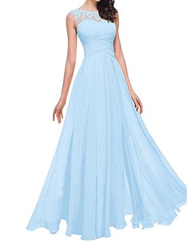 Abschlussballkleider linie Blau Lang Charmant A Damen Brautjungfernkleider Partykleider Herrlich Abendkleider Chiffon Hell xnwqz1YwP