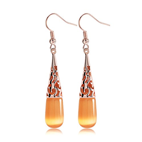 uPrimor Elegant 18K Rose Gold Plated Cat's Eye Stone Earring Set