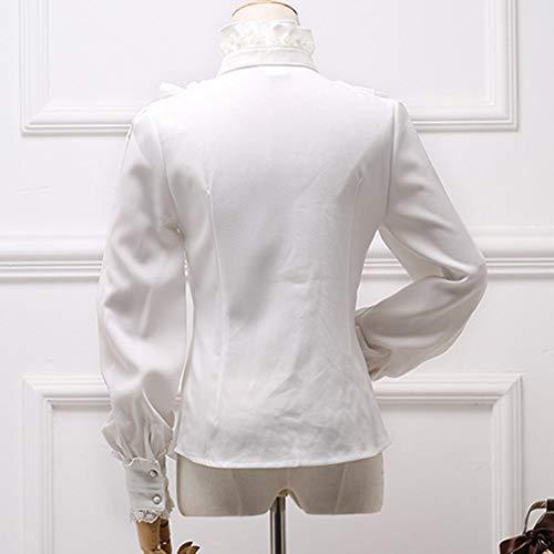 Maniche Arco Vittoriano Bianca Camicetta Colletto Donna Balze Lunghe Juleya Chiffon Camicia S Pizzo Gotica Dritto Lolita 2xl Retro rBdexoCW