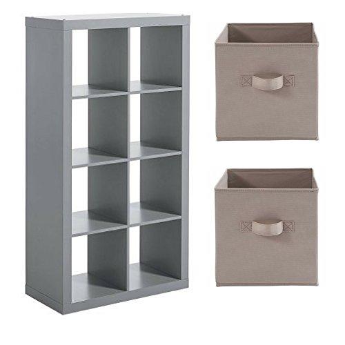 Better Homes And Gardens 8 Cube Storage Organizer Gray W Storage Bins