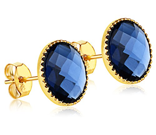 Blue Hypoallergenic Crystal Stud Earrings - 24K Gold Coated - By Clecceli