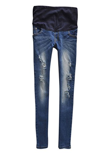 Aivtalk Lady's Denim Long Length Pregnant Women Care Belly Trousers Elegant Office Lady Pencil Pants Blue L (Maternity Pants Long compare prices)