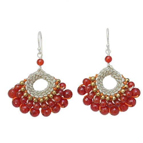 NOVICA Hand Crocheted Carnelian and Quartz Earrings with .925 Sterling Silver Hooks, Orange Lanna