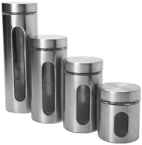 Anchor Hocking 97564 4-Piece Palladian Brushed Stainless Steel Window Cylinder Set, 4, Clear -