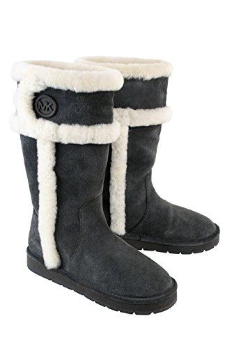 Michael Kors MK Winter Tall Boot Charcoal Grey Suede Leather/Shearling Shoe