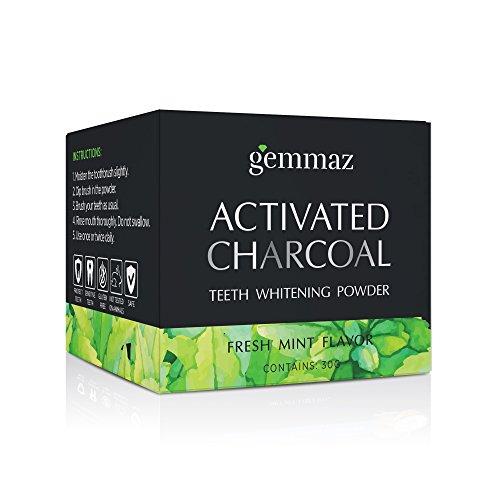 Gemmaz Charcoal Teeth Whitening Powder, Coconut Activated Charcoal Teeth Whitening, Enamel Safe Teeth Whitener for Sensitive Teeth Gums, Fresh Mint Flavor 30g by Gemmaz (Image #8)