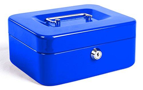 Jssmst Locking Small Steel Cash Box with Money Tray,Lock Box,Blue ()